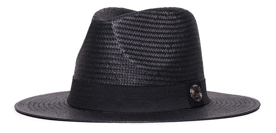 Chapéu Estilo Panamá Preto Aba Média 7cm Palha Shantung Clássico