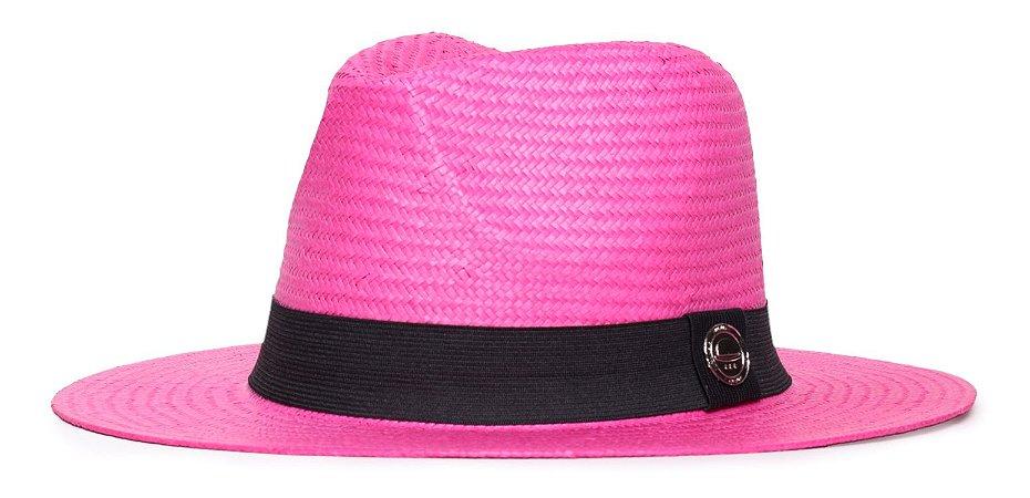 Chapéu Estilo Panamá Rosa Aba Média 7cm Palha Shantung Clássico