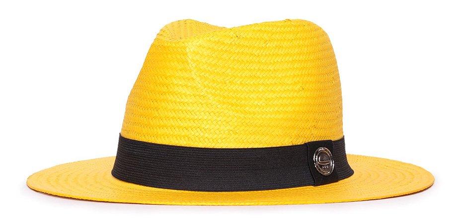 Chapéu Estilo Panamá Amarelo Aba Média 7cm Palha Shantung Clássico