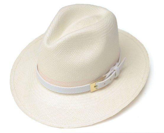 Chapéu Panamá Aba Média Montecristi Dobrável Couro Branco