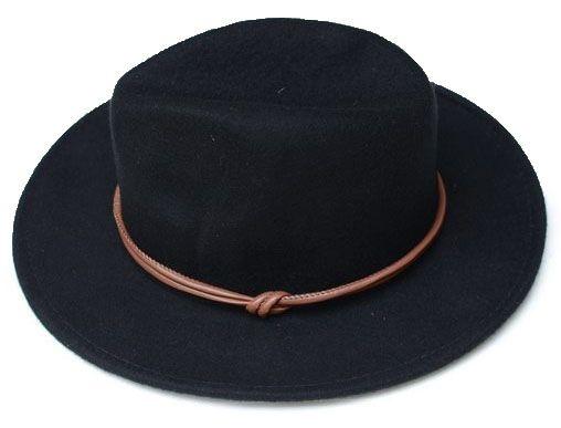 Chapéu Fedora Preto Aba Reta 7cm Feltro Faixa Nó Custom Hats Caramelo
