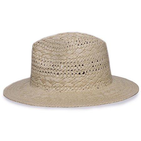 Chapéu Fedora Bege Aba Reta 7cm Palha Trançada Liso