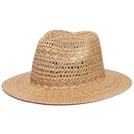 Chapéu Fedora Caramelo Aba Reta 7cm Palha Trançada Liso