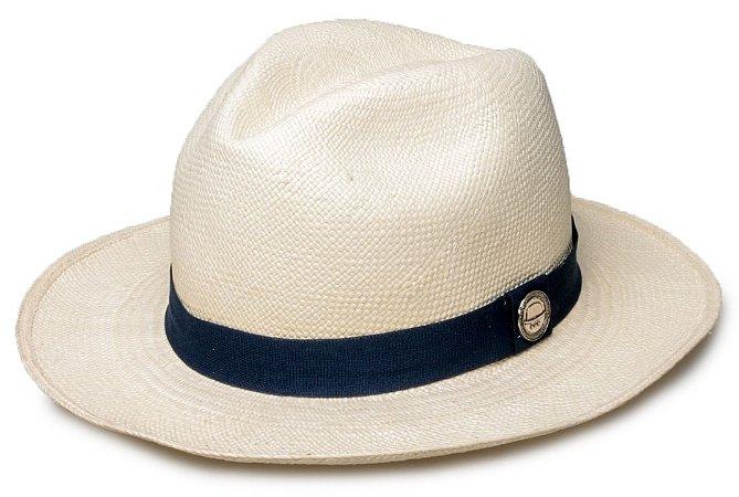 7c7d5b8a0ba2f Chapéu Panamá Palha Natural Faixa Azul Marinho - Compre com quem é ...
