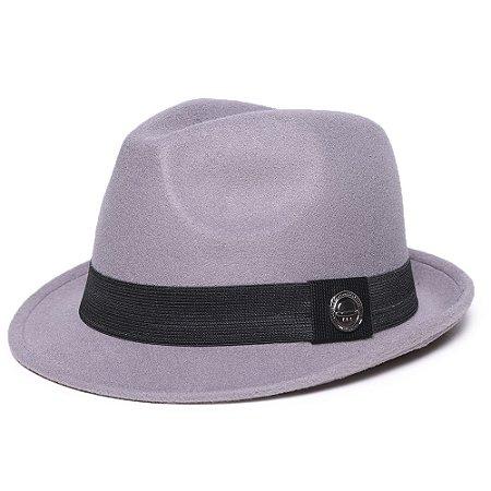 Chapéu Fedora Feltro Cinza Aba Curta 4cm Faixa Preta - Coleção Clássico