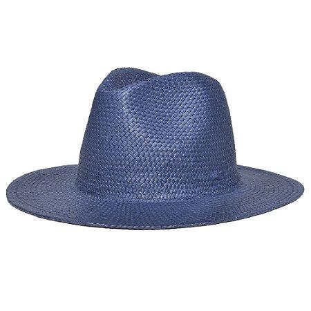 Chapéu Estilo Panamá Azul Marinho Aba Média 7cm Palha Shantung LISO