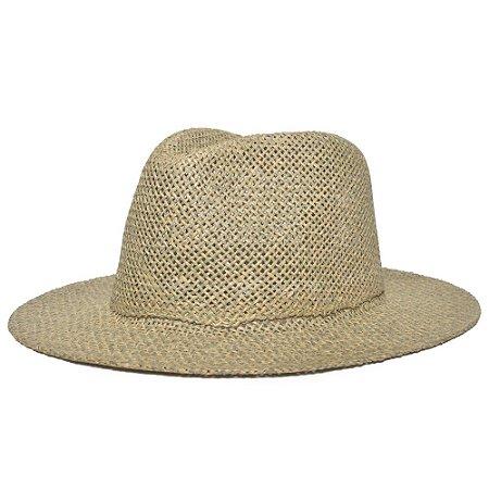 Chapéu Fedora Aba Reta 6,5cm Palha Alga Liso