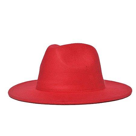 Chapéu Fedora Vermelho Aba Reta 7cm Feltro LISO