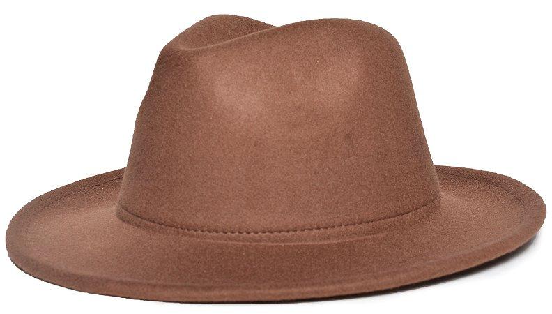 Chapéu Fedora Caramelo Aba Média 6,5cm Feltro LISO