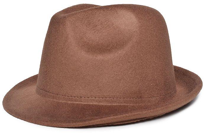 Chapéu Fedora Caramelo Aba Curta 4cm Feltro Liso