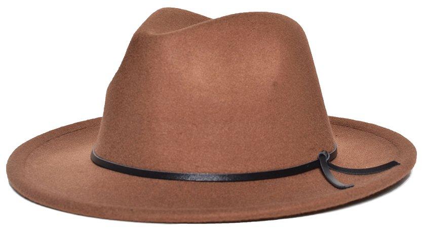 Chapéu Fedora Caramelo Aba Média 6,5cm Feltro Coleção Couro V