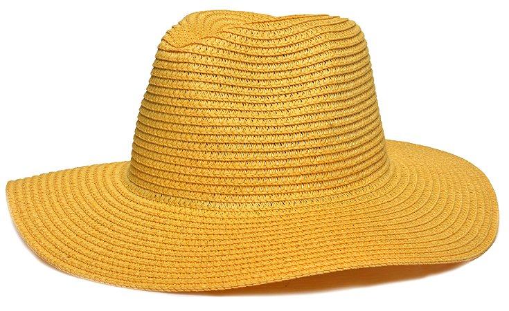 Chapéu Fedora Palha Aba Maleável 8cm Amarelo LISO