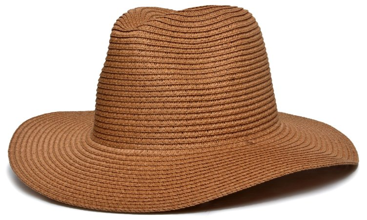 Chapéu Fedora Palha Aba Maleável 8cm Caramelo LISO