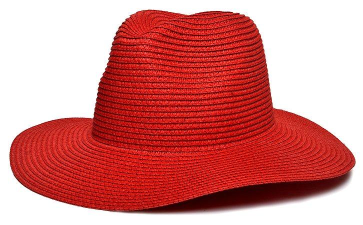 Chapéu Fedora Palha Aba Maleável 8cm Vermelho LISO