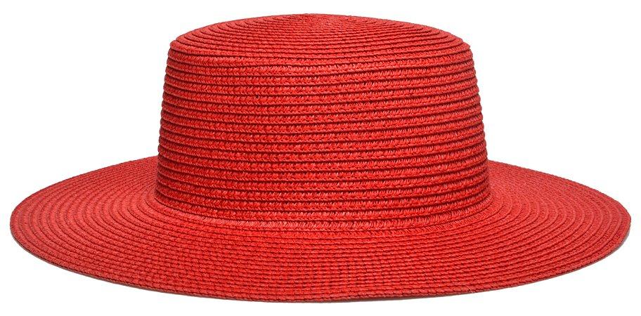 Chapéu Palheta Palha Aba Maleável 8cm Vermelho LISO