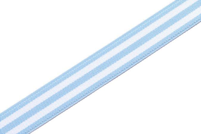 Faixa Azul Bebê Duas Listras Branca - Coleção Stripes