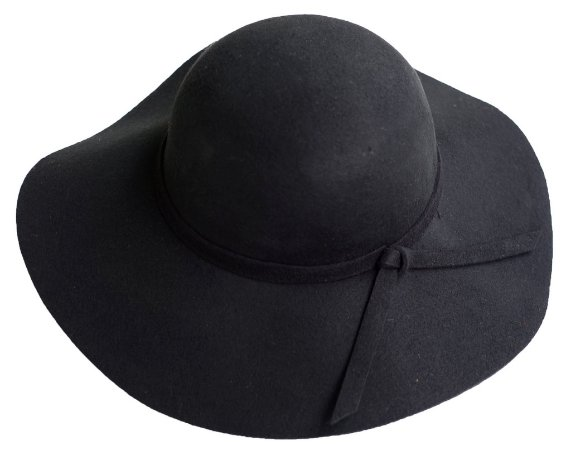 Chapéu Floppy Preto Boho Tendência 100% Lã