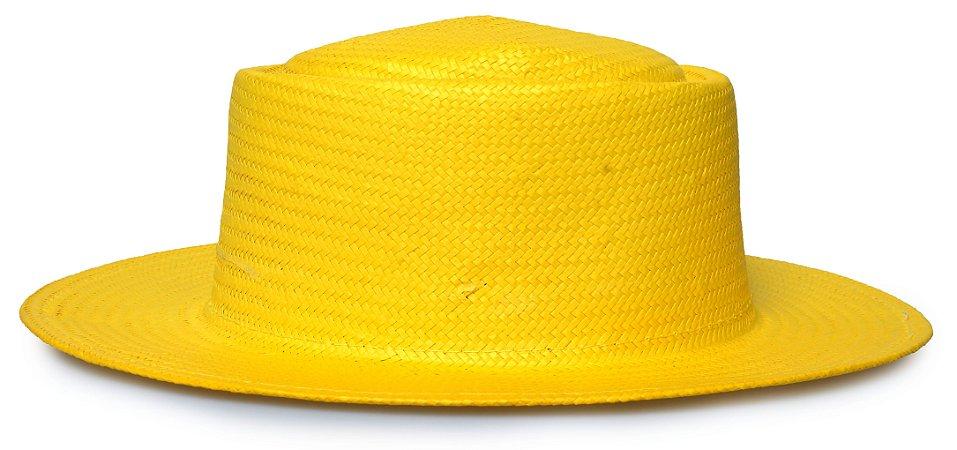 Chapéu Pork Pie Palha Aba Reta 7cm Amarelo LISO