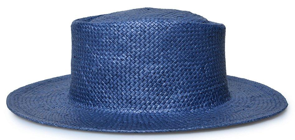 Chapéu Pork Pie Palha Aba Reta 7cm Azul Marinho LISO