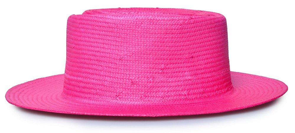 Chapéu Pork Pie Palha Aba Reta 7cm Rosa LISO