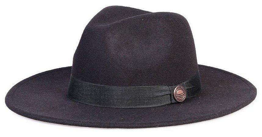 Chapéu Fedora Preto Aba Reta 8cm Feltro Clássico