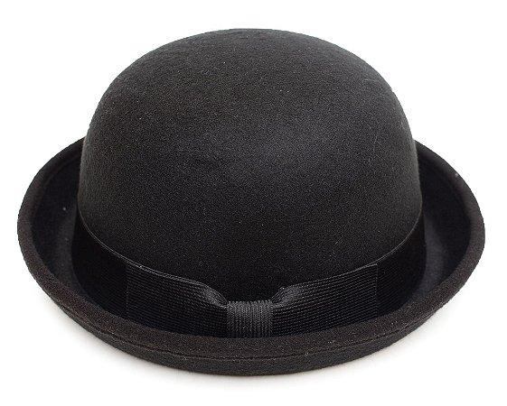 Chapéu Coco Preto Laço Customizado