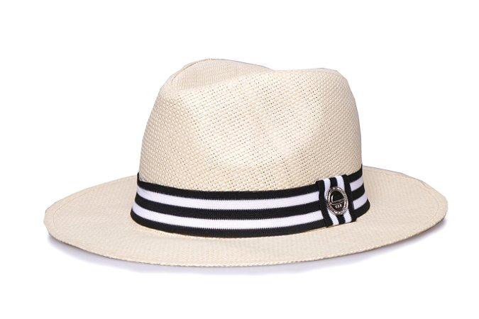 Chapéu Estilo Panamá Creme Aba Média 7cm Palha Faixa Preta e Branca