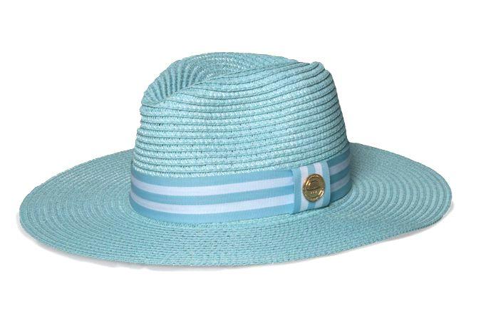 Chapéu Fedora Palha Azul Aba Maleável 8cm Coleção Stripes Faixa Azul Bebê e Branca II