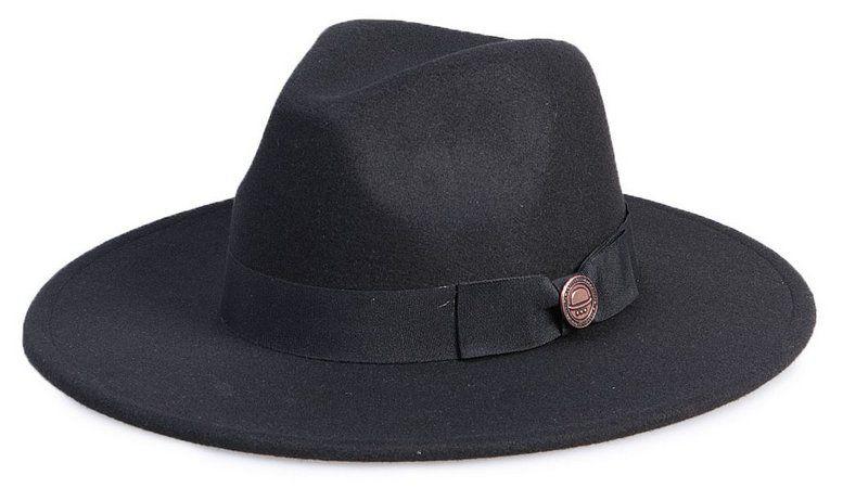 Chapéu Fedora Preto Aba Reta 8cm Feltro Laço