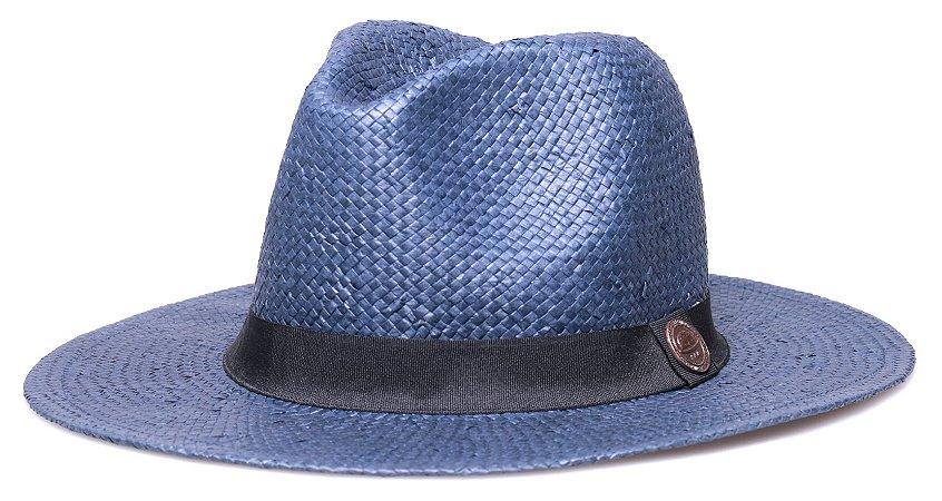 Chapéu Estilo Panamá Shantung Azul Marinho Aba Reta 7cm Faixa Preta - Coleção Clássico
