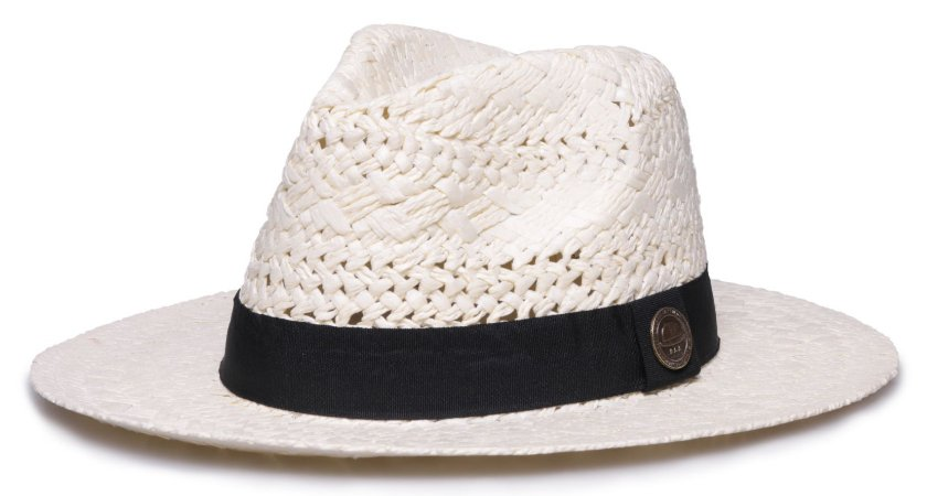 Chapéu Fedora Creme Aba Reta 7cm Palha Trançada Faixa Clássica