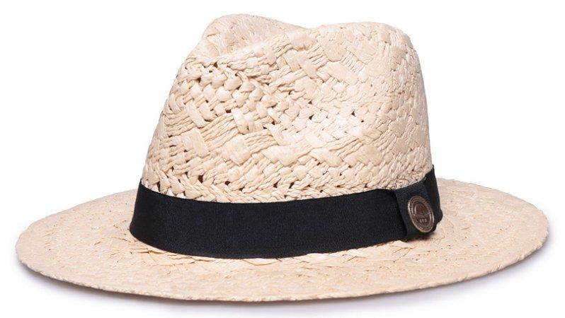Chapéu Fedora Bege Aba Reta 7cm Palha Trançada Faixa Clássica