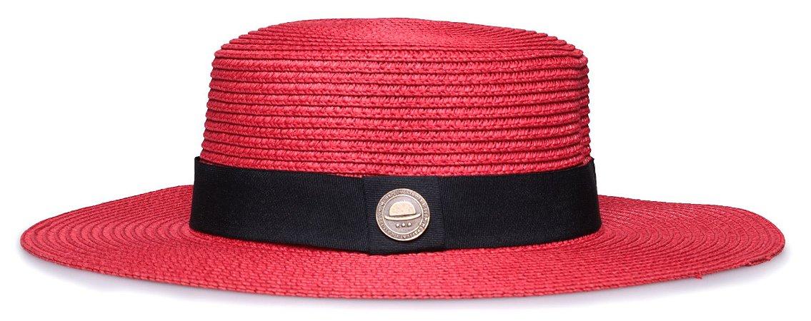 Chapéu Palheta Vermelho Aba Maleável 8cm Palha Faixa Clássica