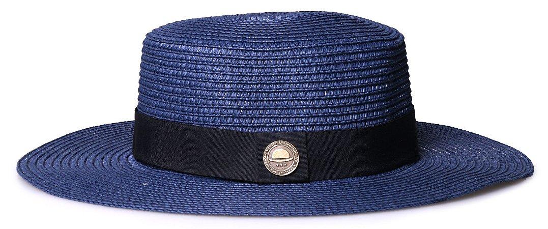 Chapéu Palheta Azul Marinho Aba Maleável 8cm Palha Faixa Clássica