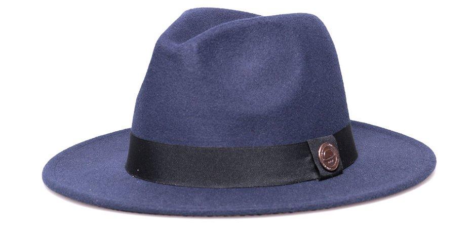 Chapéu Fedora Feltro Azul Marinho Aba Reta 7cm Faixa Preta - Coleção Clássico
