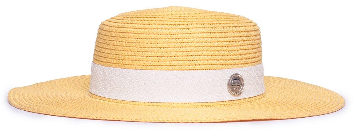 Chapéu Palheta Amarelo Palha Aba Maleável 8cm Faixa Animale Branca