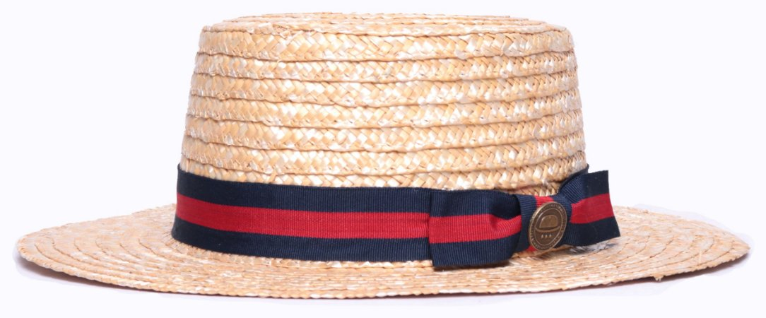 Chapéu Boater Palheta Aba Média Palha Dourada Coleção Stripes I Laço