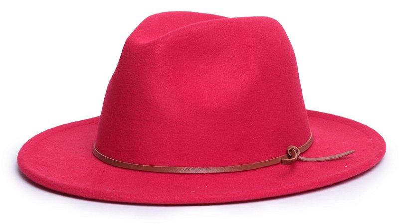 Chapéu Fedora Feltro Vermelho Aba Média 7cm Couro V Caramelo - Coleção Couro