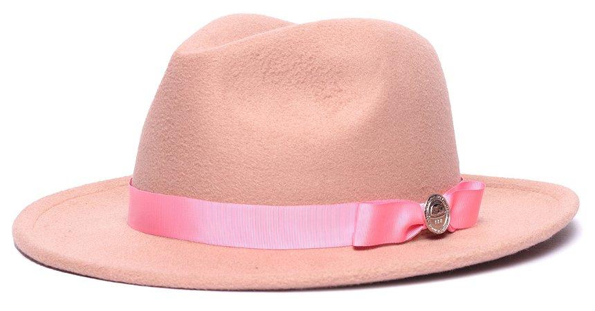 Chapéu Fedora Bege Aba Média 6,5cm Gorgurão Laço Fino Rosa