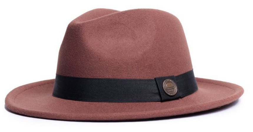 Chapéu Fedora Caramelo Aba Média 6,5cm Feltro Clássico