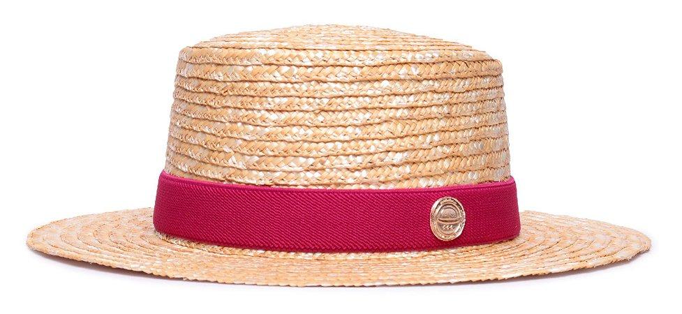 Chapéu Palheta Palha Dourada Aba Média 7cm Faixa Cereja - Coleção Elástica