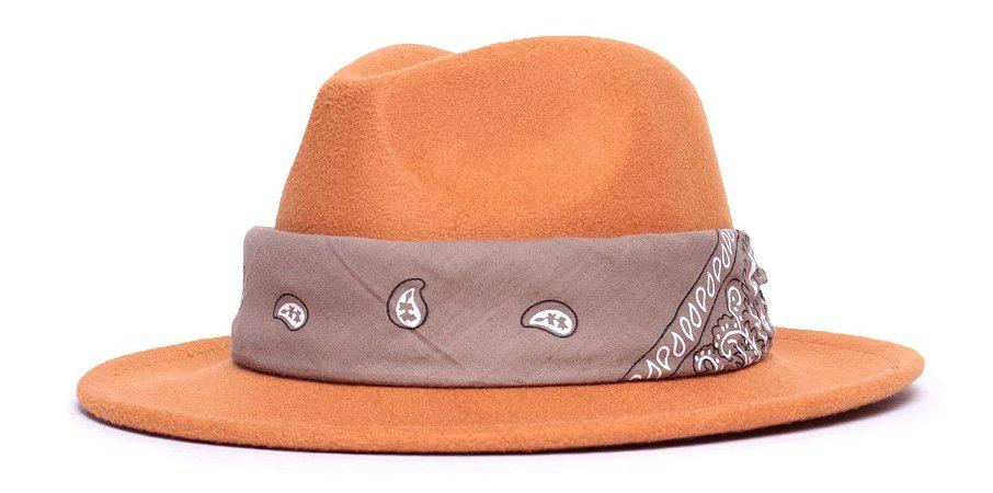 Chapéu Fedora Caramelo Claro Aba Média 6,5cm Feltro Coleção Bandana