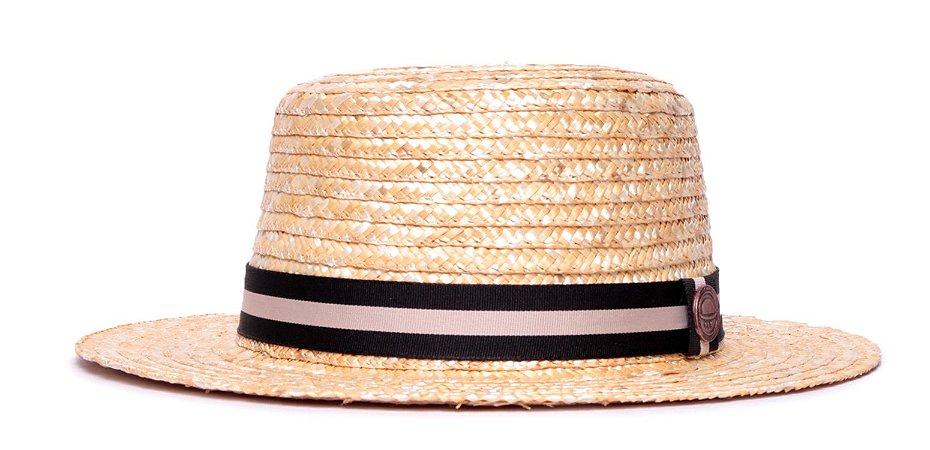 Chapéu Palheta Palha Dourada Aba Média 7cm Faixa Preta Listra Nude - Coleção Stripes