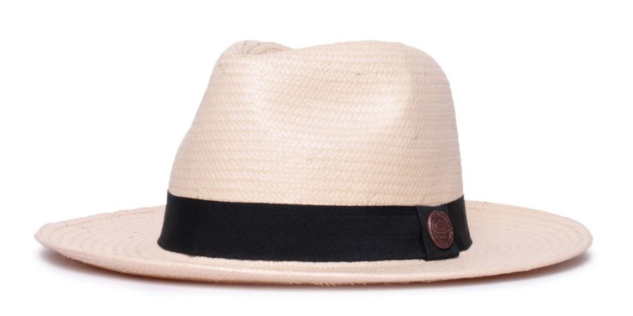 Chapéu Estilo Panamá Bege Aba Média 7cm Palha Shantung Clássico