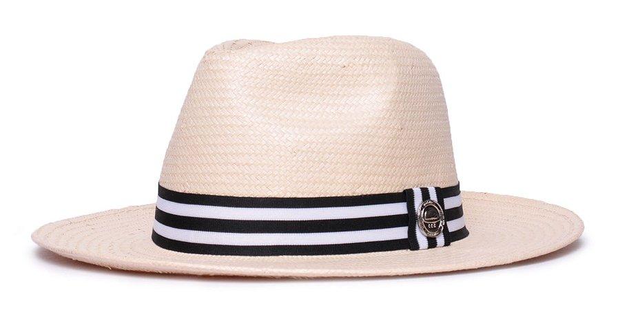 Chapéu Fedora Palha Shantung Bege Aba Média 7cm - Coleção Stripes
