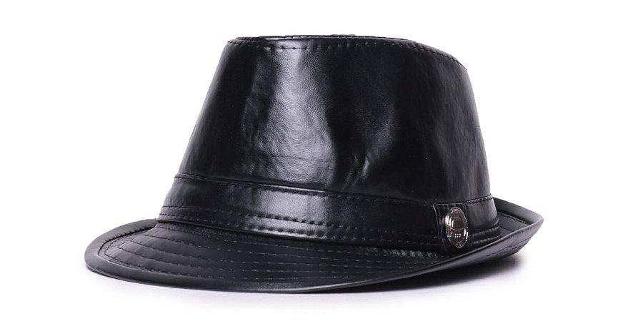 Chapéu Fedora Preto Aba Curta 4cm de Couro