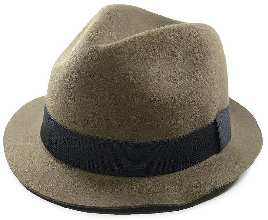 Chapéu Fedora Aba Curta Verde Musgo