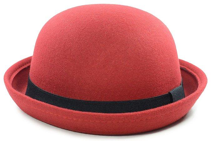 Chapéu Coco Feltro Vermelho