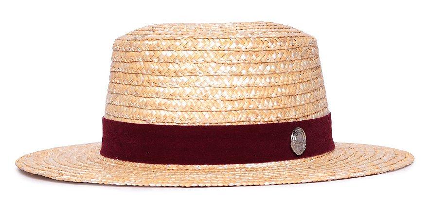 Chapéu Palheta Palha Dourada Aba Média 7cm Faixa Camurça Bordô - Coleção Suede