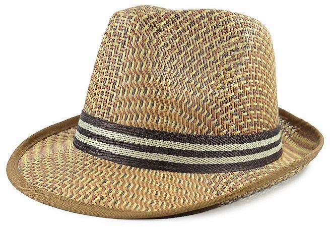 Chapéu Fedora Caramelo Listrado Edição Especial